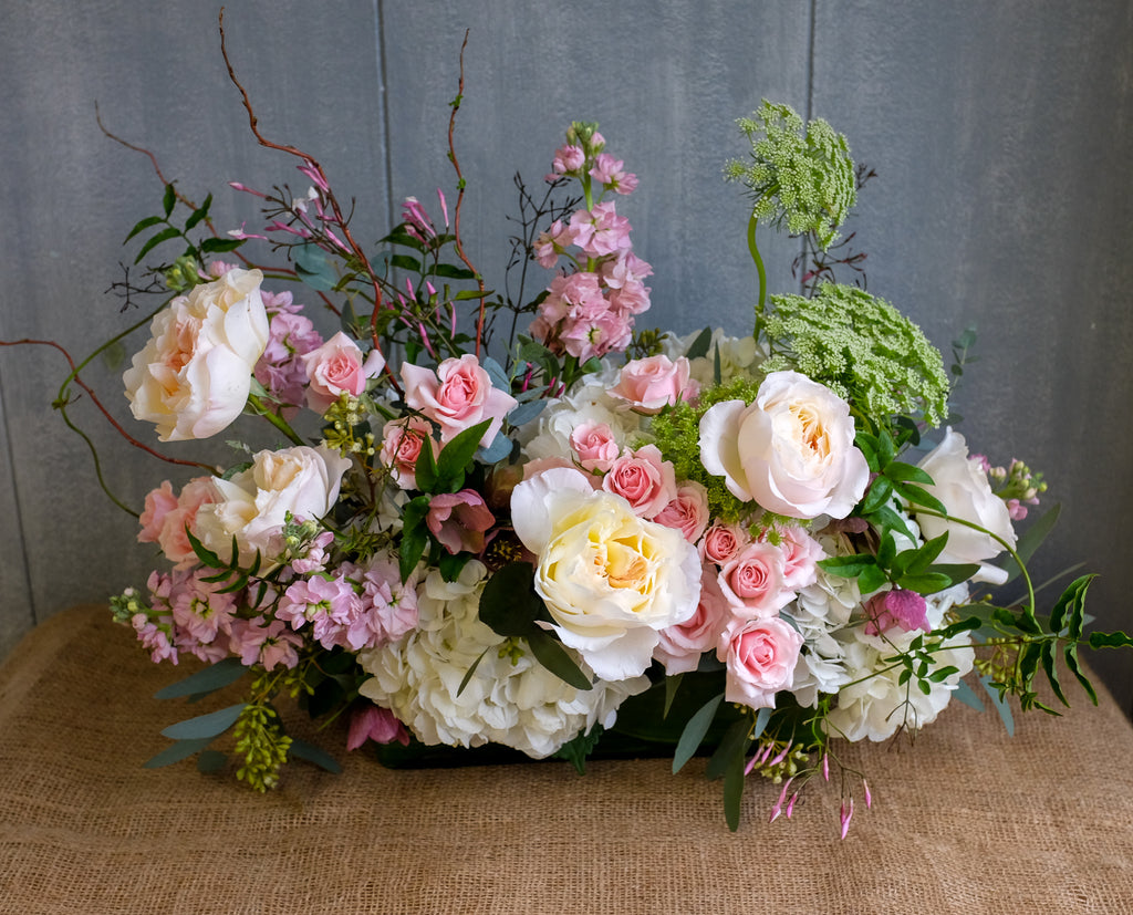 Chelwood Flower Design with Garden Roses and Vines by Michler's Florist