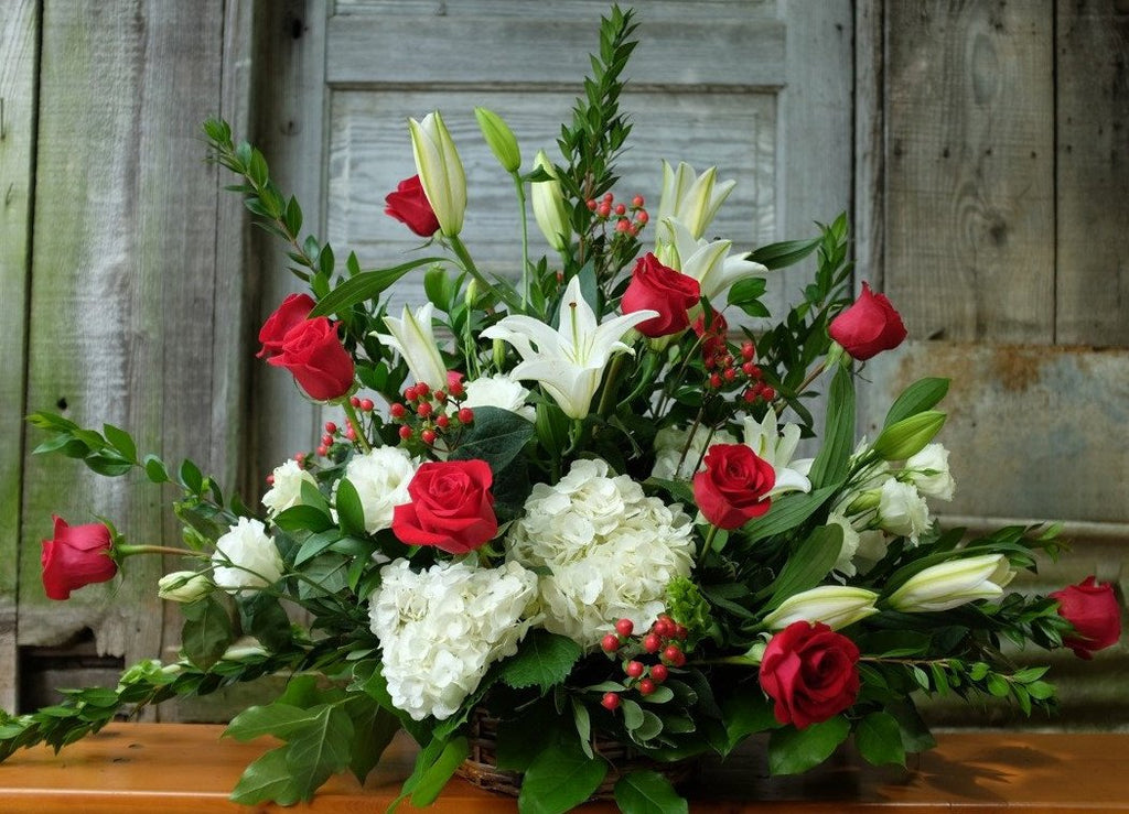 Aberdeen: Floral Design with Red Roses, Casa Blanca Lilies and Hydrangea. Michler's Florist in Lexington, KY