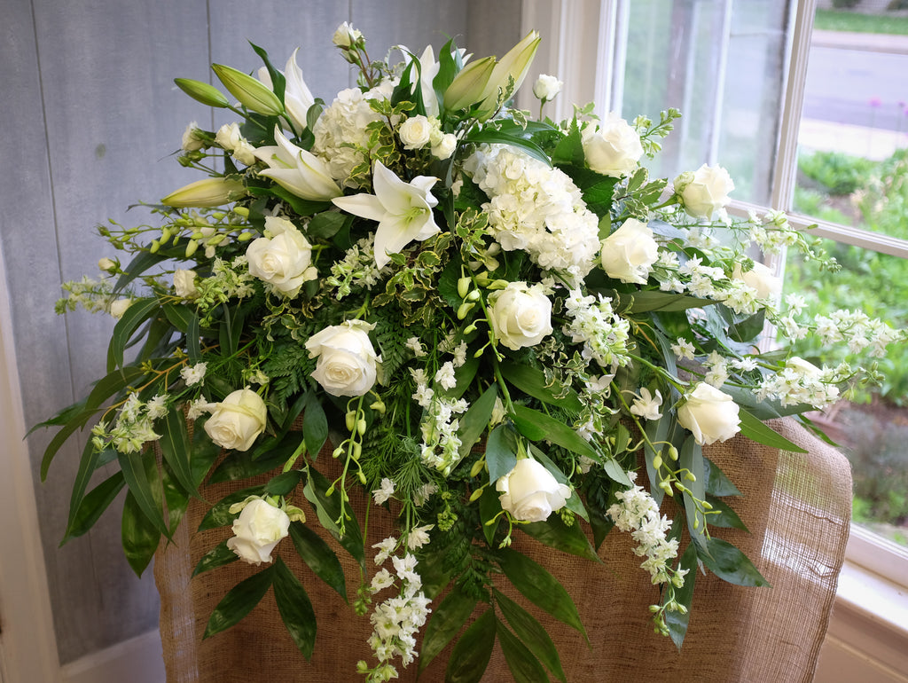 Casket Spray Composed of all white flowers