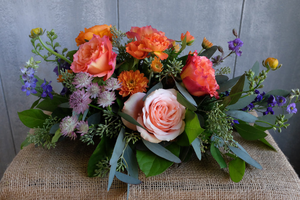 Thanksgiving Centerpiece with Astrantia, Ranunculus and Roses | Michler's Florist