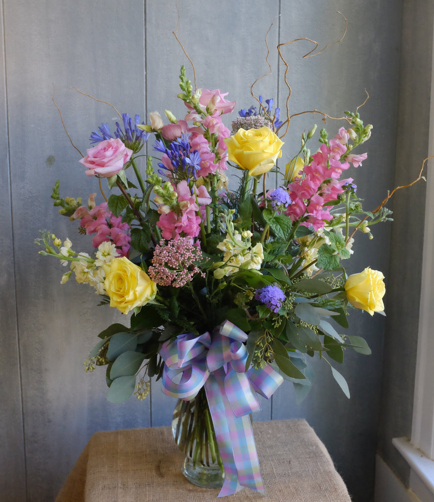 Madeley: Garden Vase with roses, agapanthus, rice flower, and larkspur | Michler's Florist
