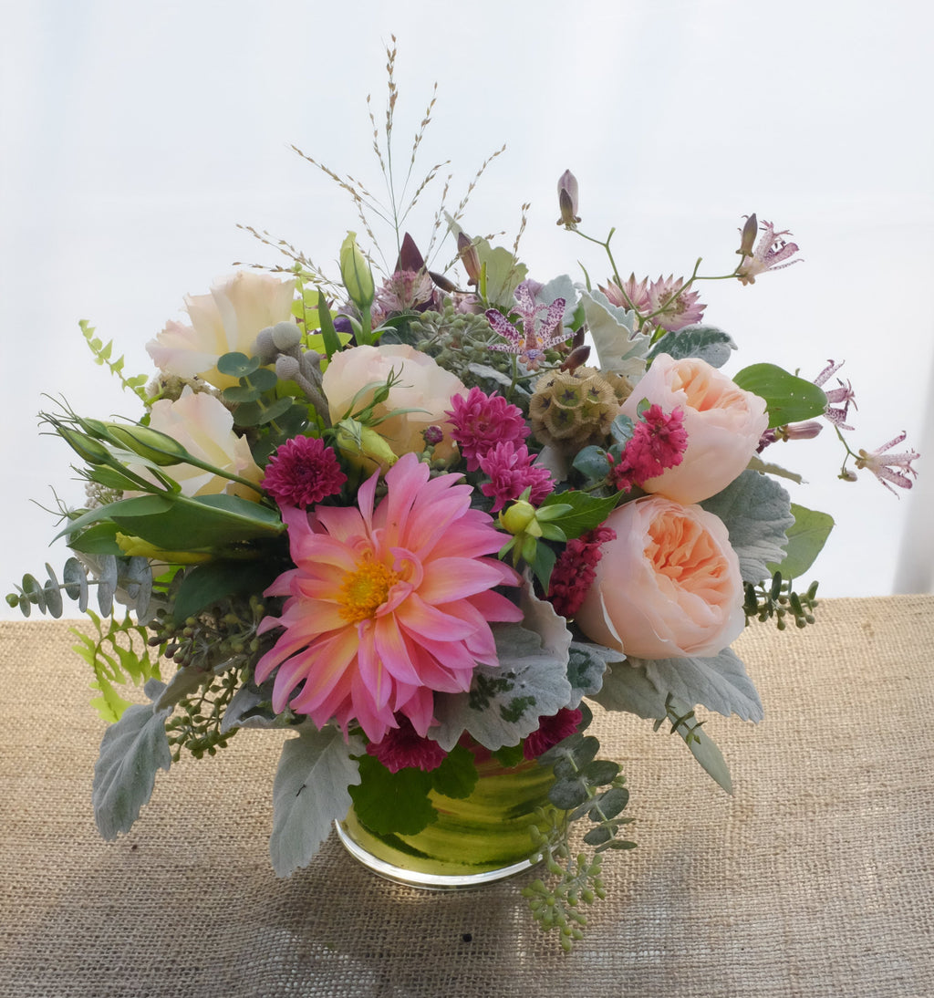 Sunnymead: Flower design with Dahlia, Garden Roses, and Toad Lilies (Tricyrtis) | Michler's Florist