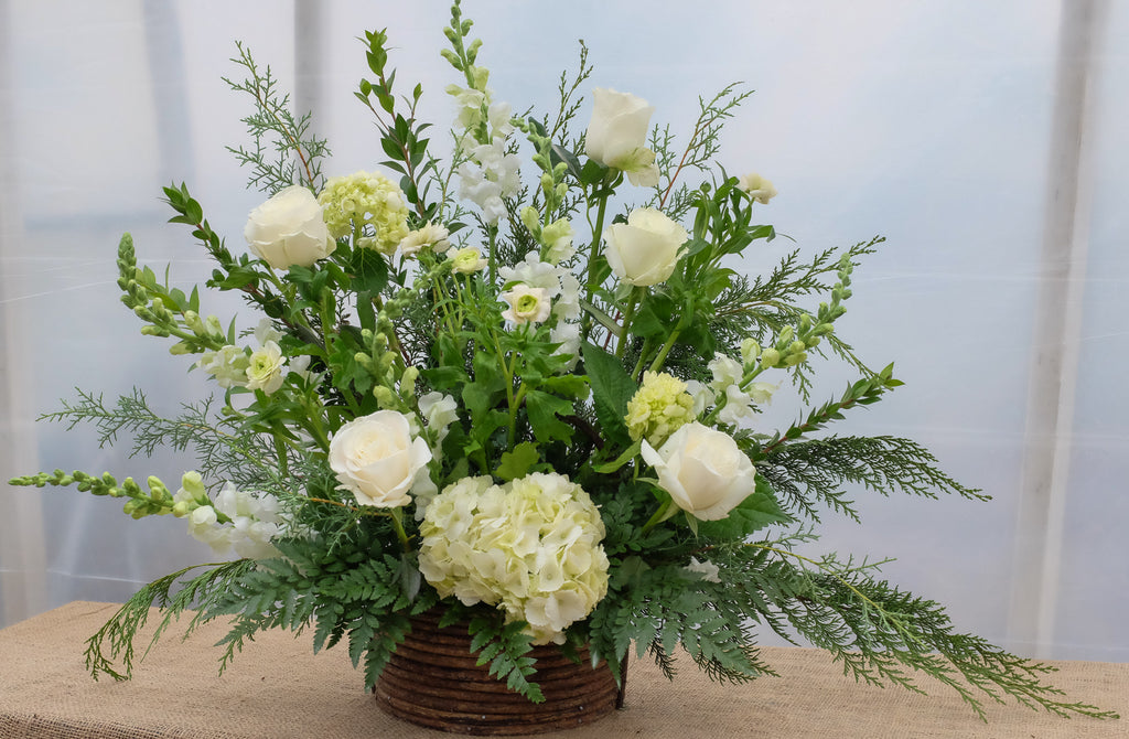 Woodglen White Roses and Hydrangea Floral Arrangement Michler's Lexington, Kentucky