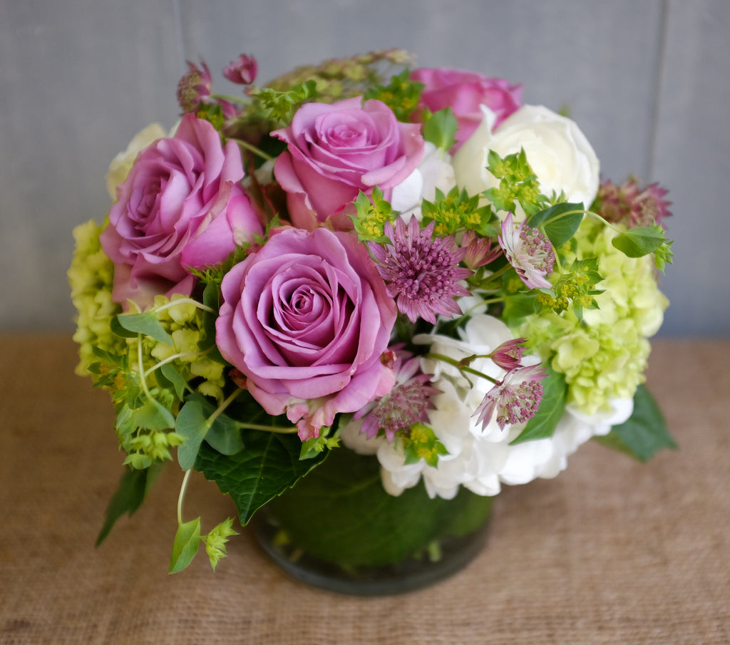 Lavender roses design with Astrantia and Hydrangea by Michler's Florist