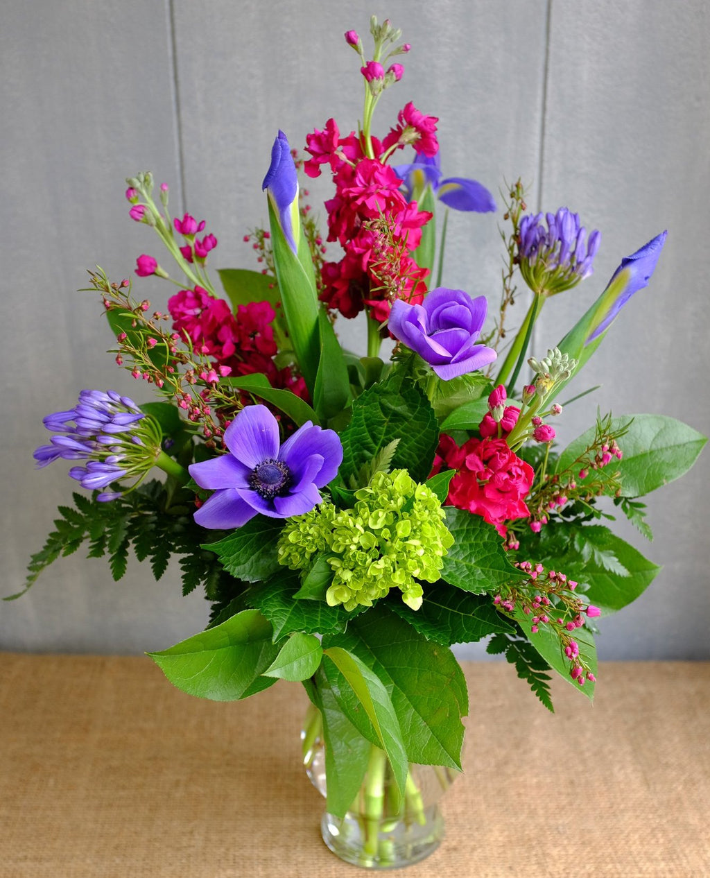 Merluna - Pink and Purple Flower Arrangement with Anemones, Iris, and Boronia Heather | Michler's Lexington, Kentucky