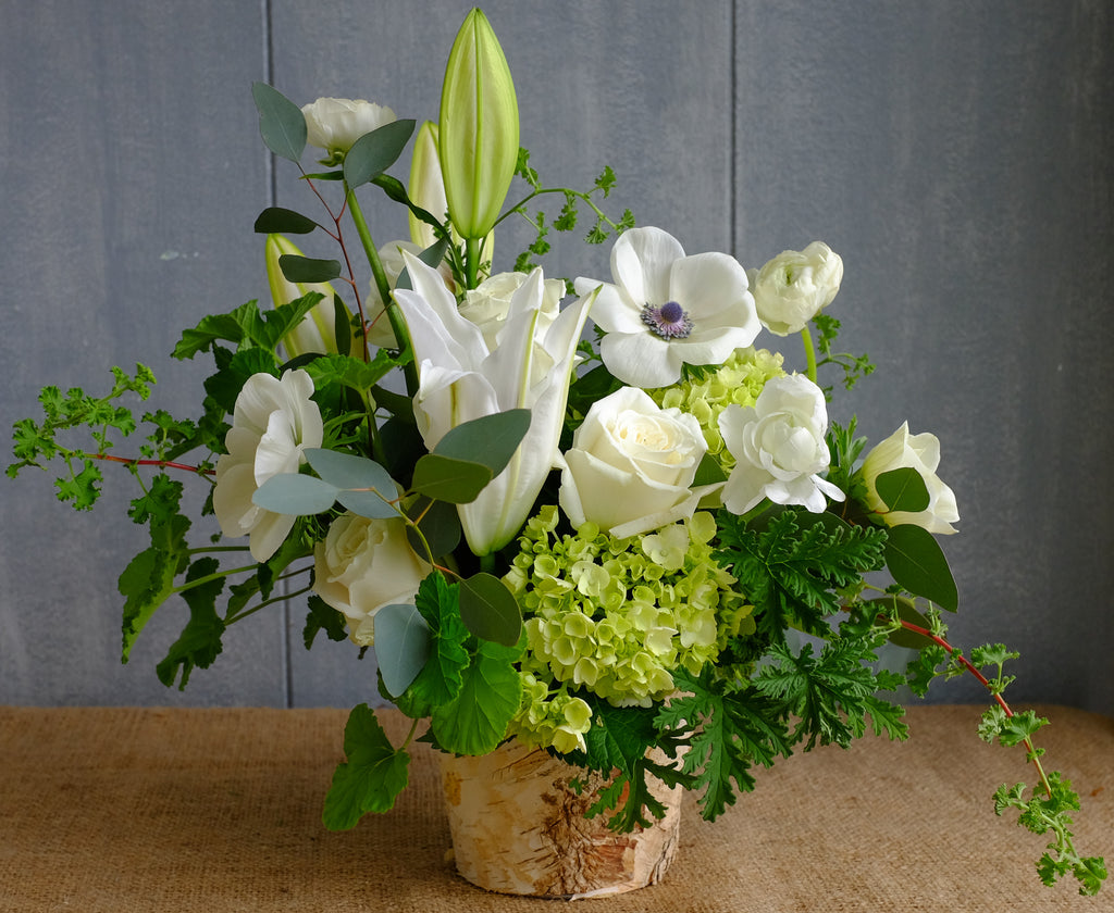 Woodsong Floral Bouquet with White Anemones, Lilies and Lemon Geranium Foliage | Michler's