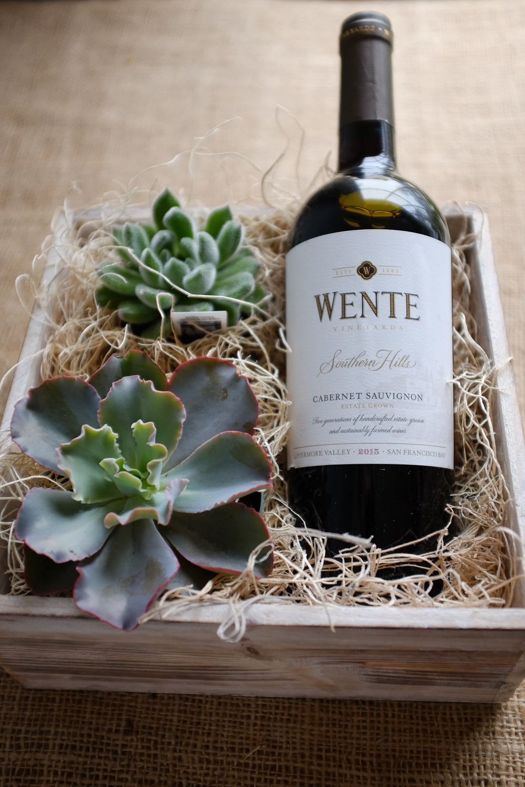 wine gift crate with succulent plants, Michler's Florist