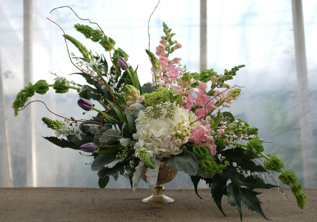 Paris: Urn Floral Arrangement with romantic colors. Designed by Michler's in Lexington, KY