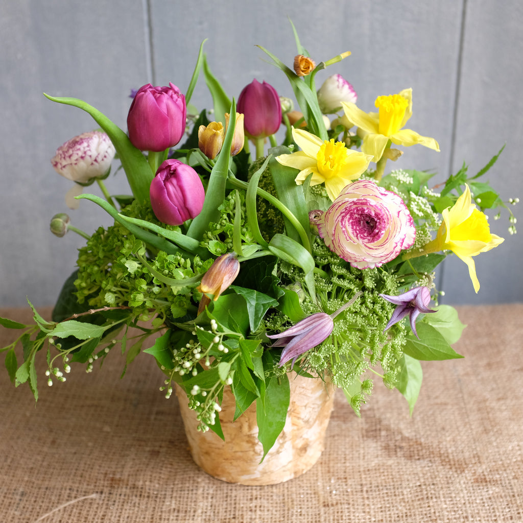 Flower bouquet with Fritillaria, Tulips, Daffodils , and Ranunculus by Michler's Florist