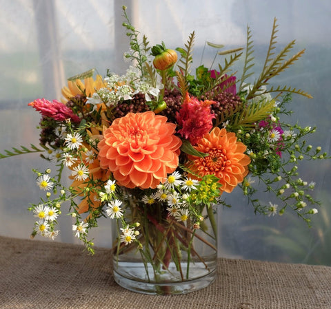 Dartmore: Autumn Flower Arrangement with Dahlias. Michler's Florist in Lexington, KY