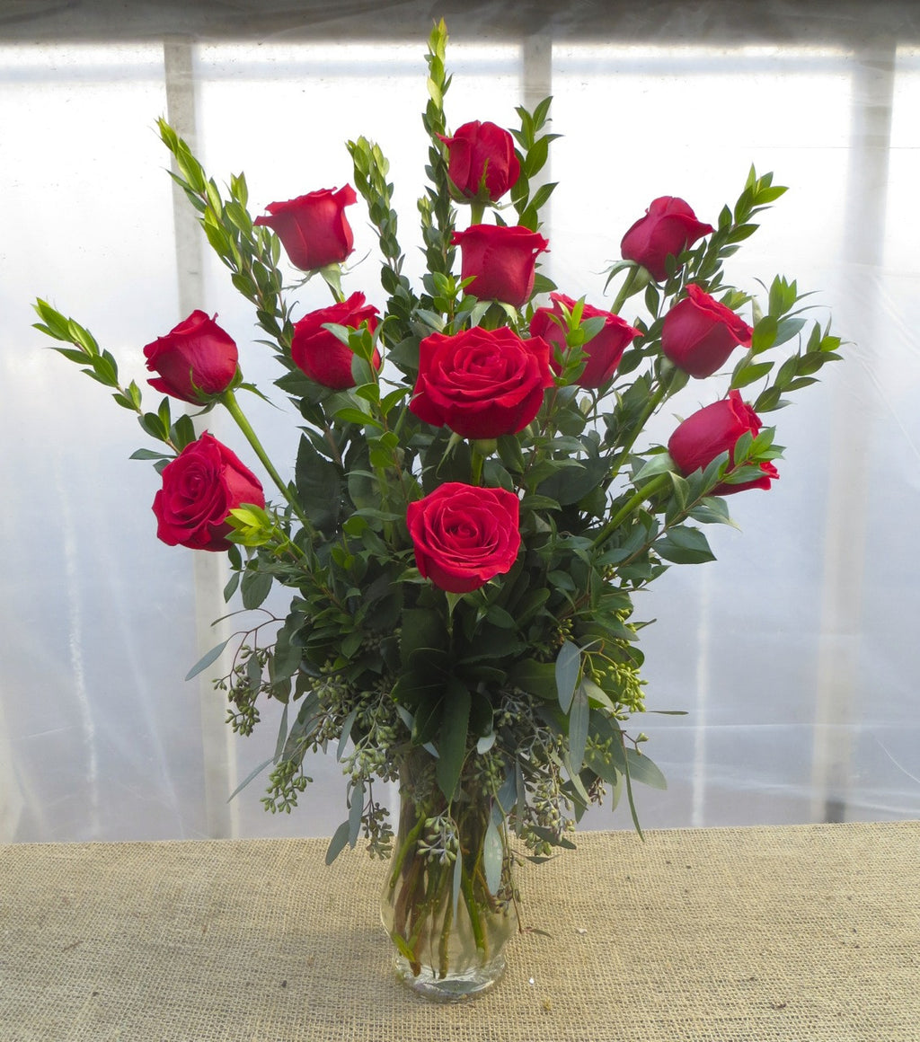 Dozen Red Roses arranged in a vase by Michler's Florist in Lexington, KY