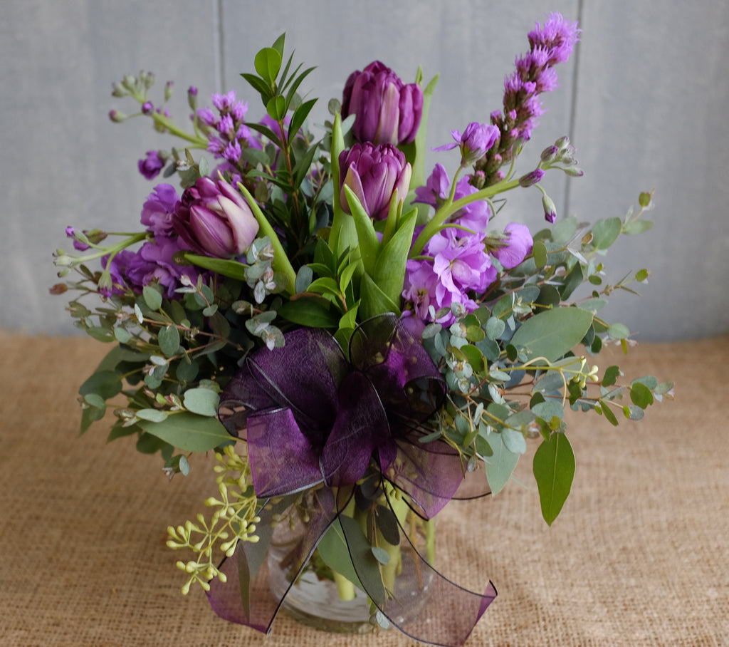 Elmira - Purple Flower Bouquet with Tulips, Liatris, Stock by Michler's Florist