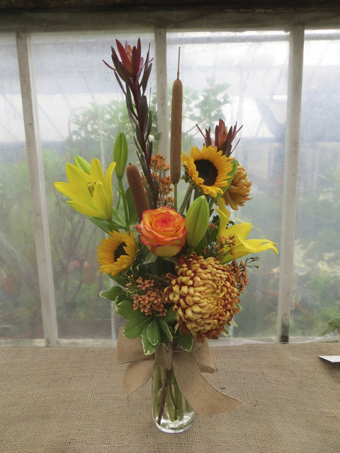 Cumberland - Fall Flower Bouquet with a Football Mum, Cattails and Sunflowers | Michler's Florist