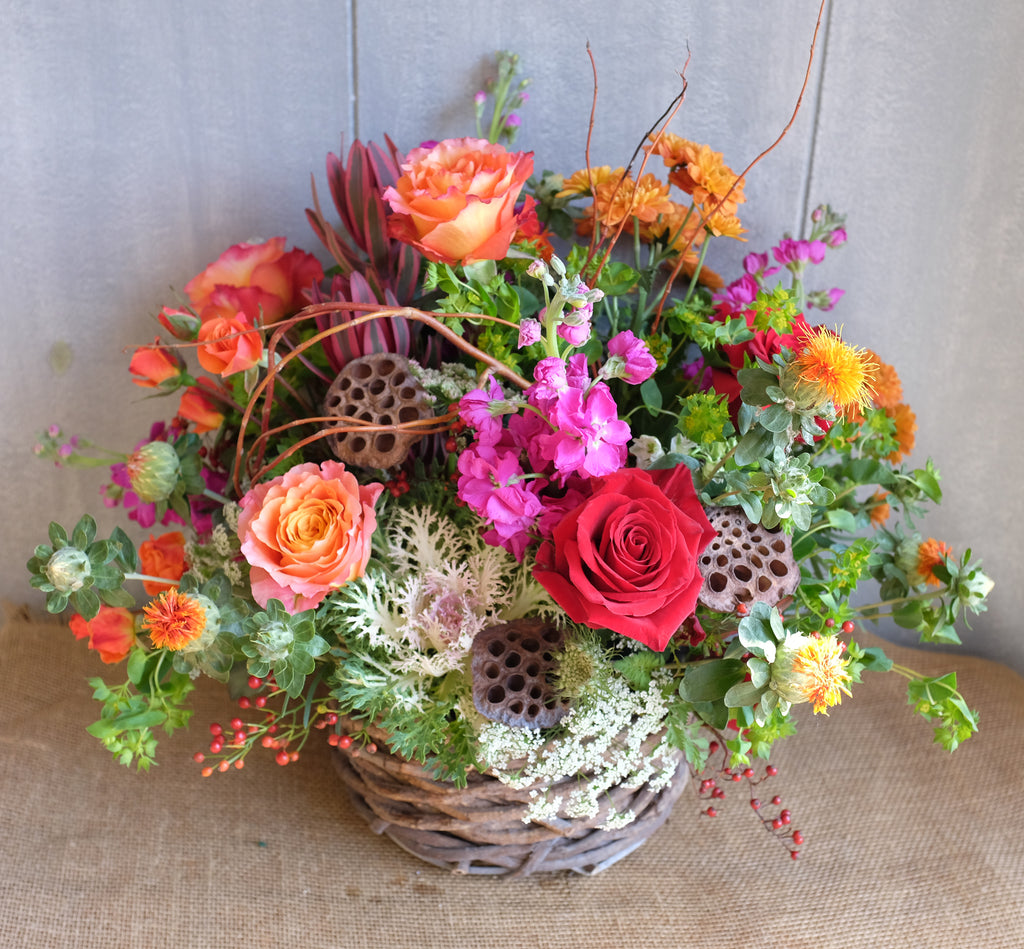 Fall flower basket by Michler's Florist.