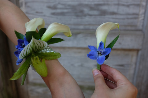 Lady Slipper Orchid Corsage with Calla Lilies | Michler's Florist