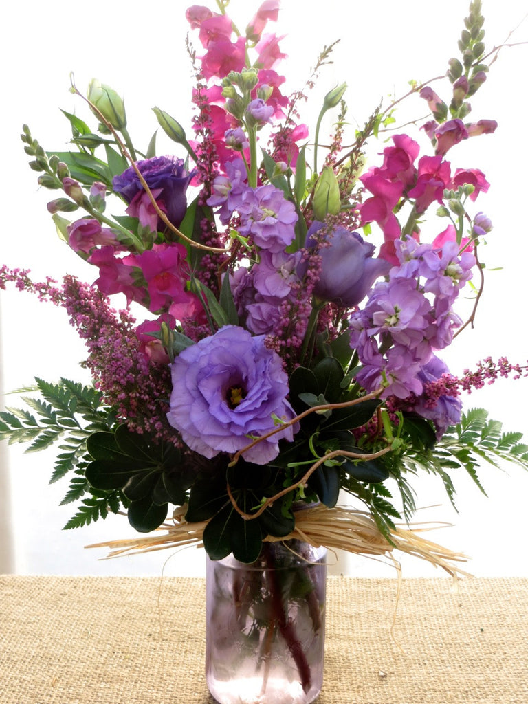 Lakeshore Flower Arrangement: Pink Snapdragons, Lavender Lisianthus and Lavender Stock.  Designed by Michler's in Lexington, KY