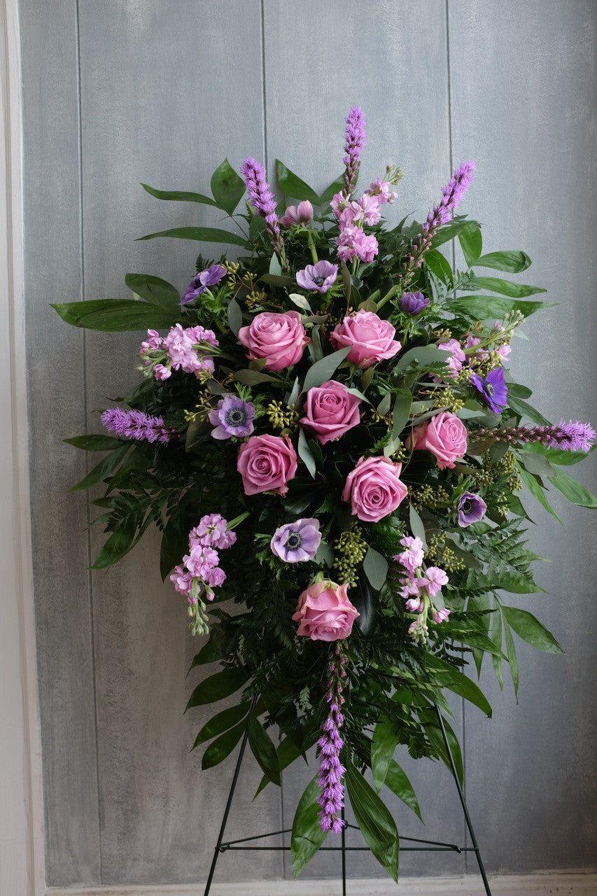 Bridgewater Funeral Flower Easel Spray with Liatris, Lavender Roses, Anemones and Stock | Michler's Florist