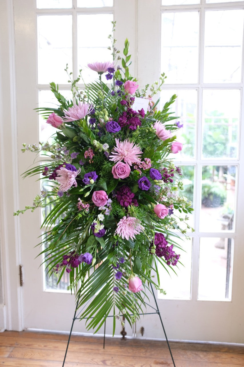 Lavender standing spray funeral flowers in lexington ky michlers lavender easel spray designed in lexington ky by michlers florist izmirmasajfo