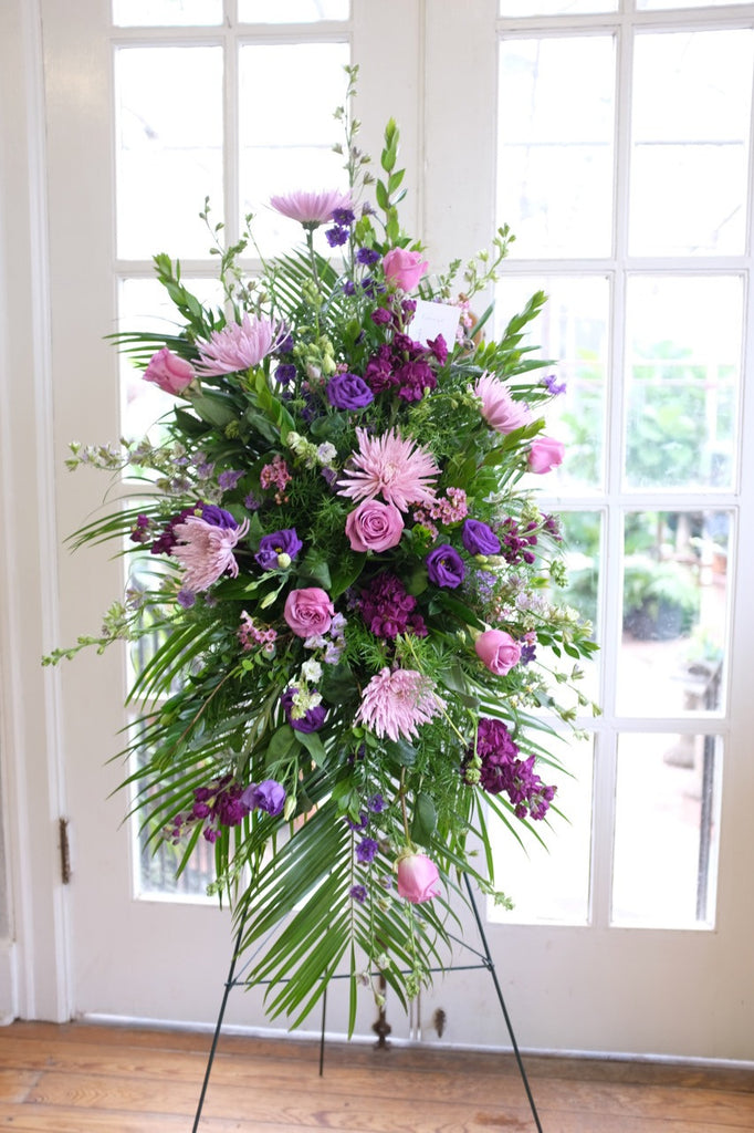 Lavender Easel Spray Designed in Lexington, KY by Michler's Florist