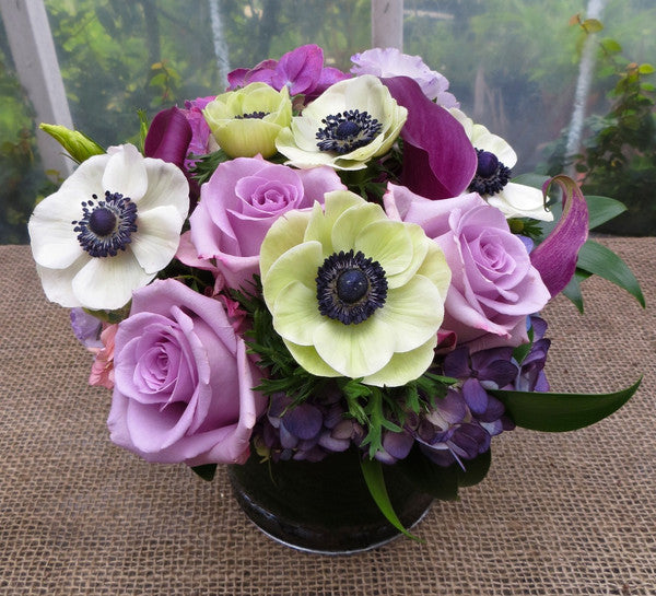 Adair Flower Arrangement with lavender roses, white anemones, and purple calla lilies in Lexington, KY by Michler's Florist | Anemones, Roses and Calla Lilies