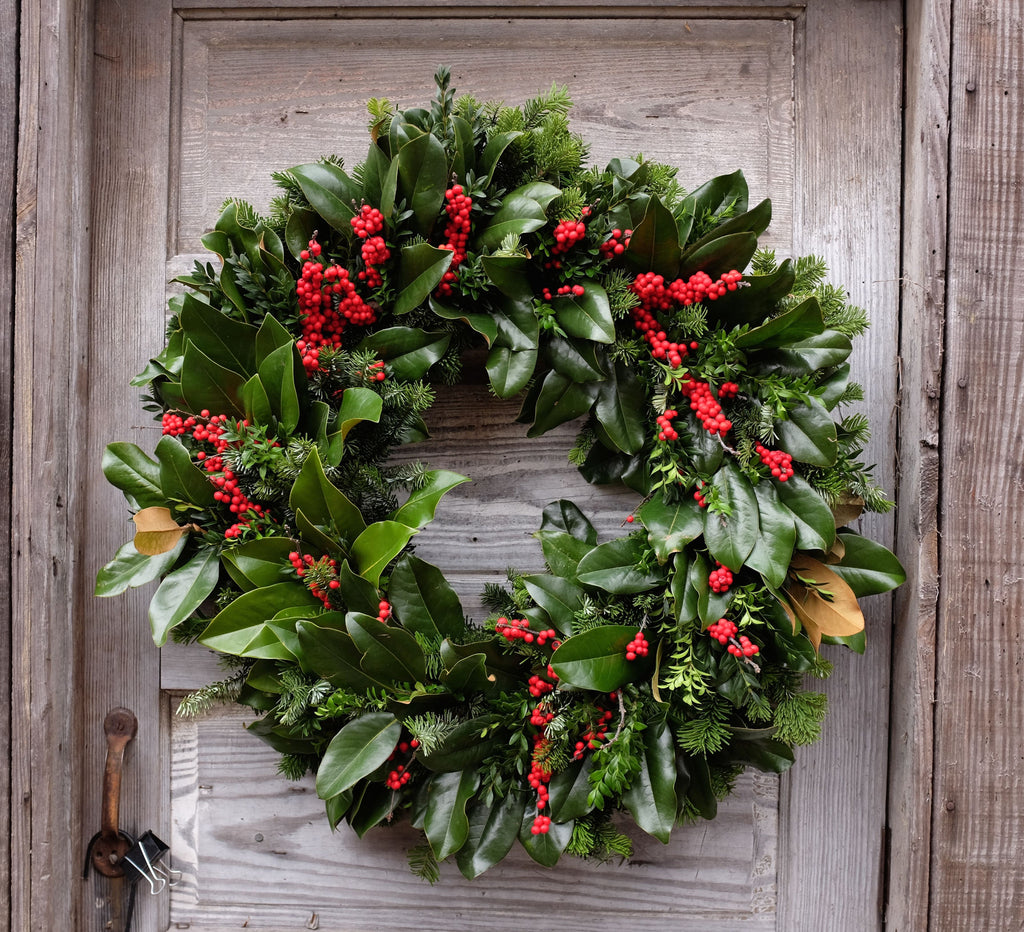 Magnolia Wreath with Winterberry (Ilex) by Michler's Florist