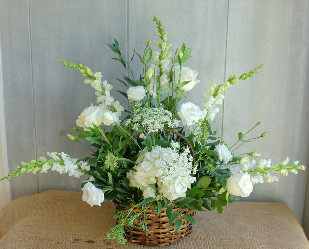 White Flower Baskey by Michlers Florist.
