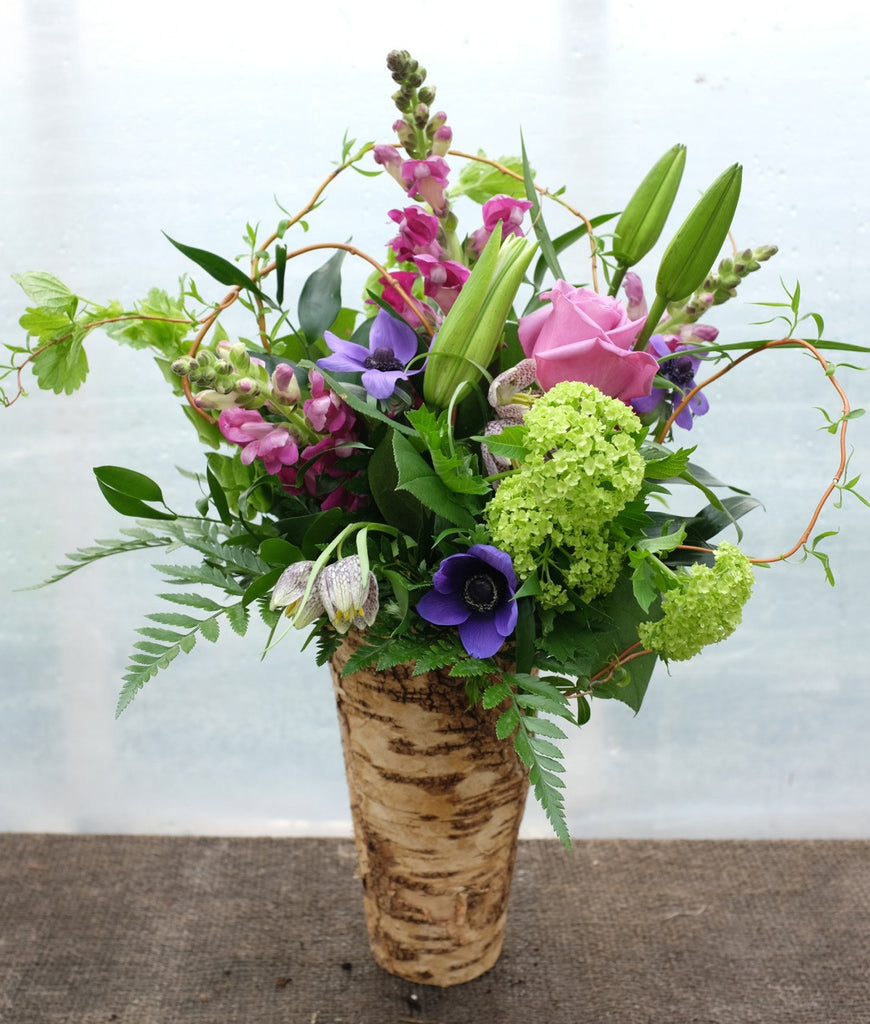 Avon: Spring Flower Bouquet with Viburnum, Fritillaria, Anemones, Snap Dragons in a Zinc lined Birch Pot.  Arranged by Michler's Florsit in Lexington, KY