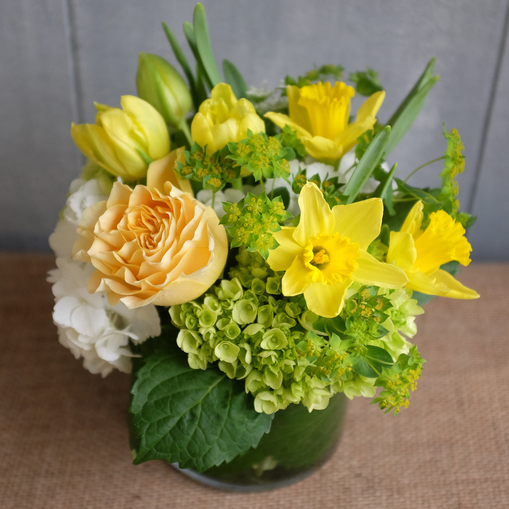 Sunny yellowfins white and green spring bouquet by Michler Florist, Lexington KY.