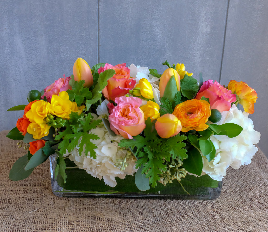 Octavia | Thanksgiving Centerpiece with Freesia, Blush Tulips, Ranunculus | Michler's Florist