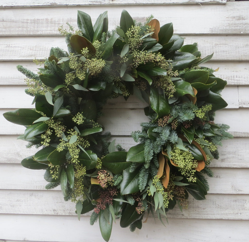 Magnolia and Eucalyptus Wreath by Michler's Florist