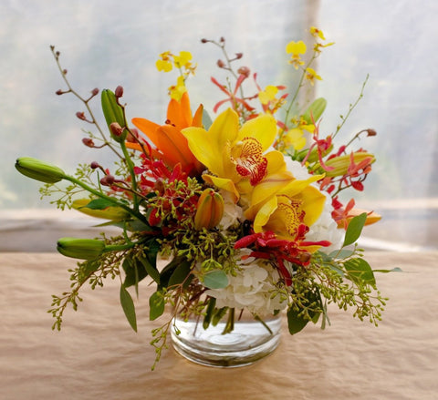 Pacific: Thanksgiving centerpiece design with Cimbidium and Oncidium Orchids. Michler's Florist in Lexington, KY