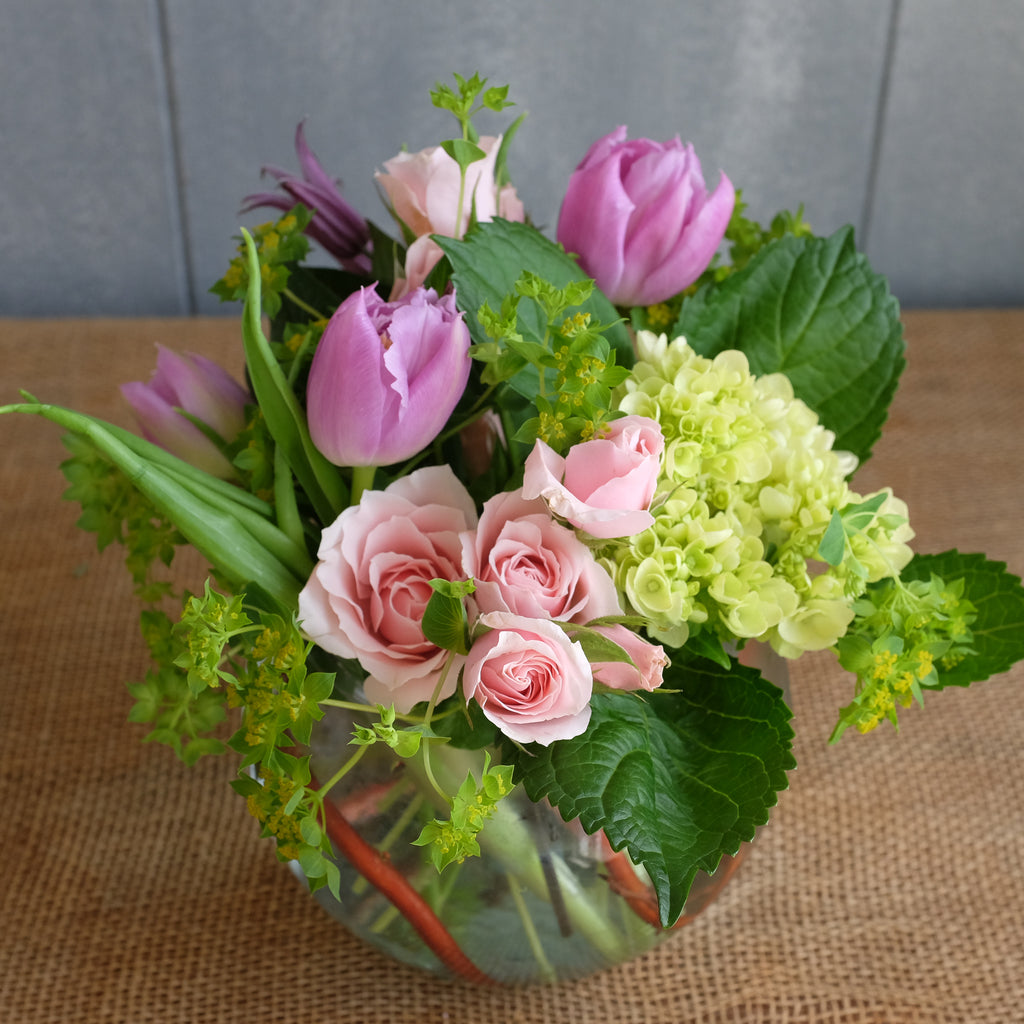 Pink and green flower bouquet by Michler Florist