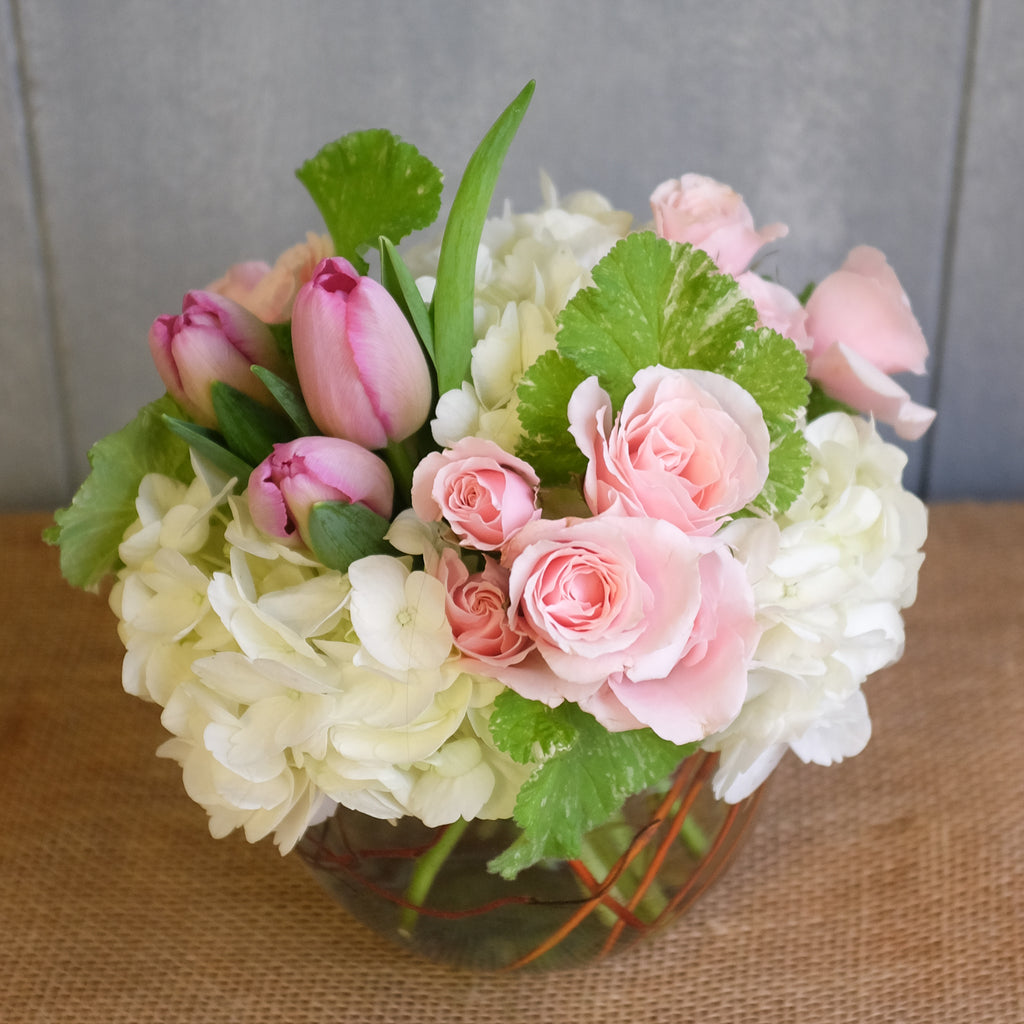 Pink and white flower bouquet by Michlers Florist