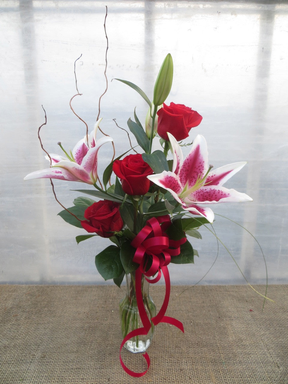 Radiant Beauty - Stargazer Lily with Red Roses - Designed by Michler's Florist in Lexington, KY