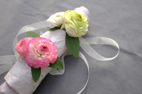 Pink and white Ranunculus Corsage | Michler's Florist