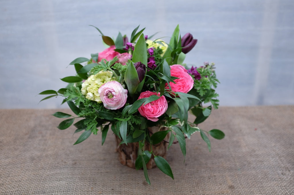 Remora: Flower Arrangement with Cappuccino Ranunculus, Purple Tulips and Pink Garden Roses | Michler's Florist