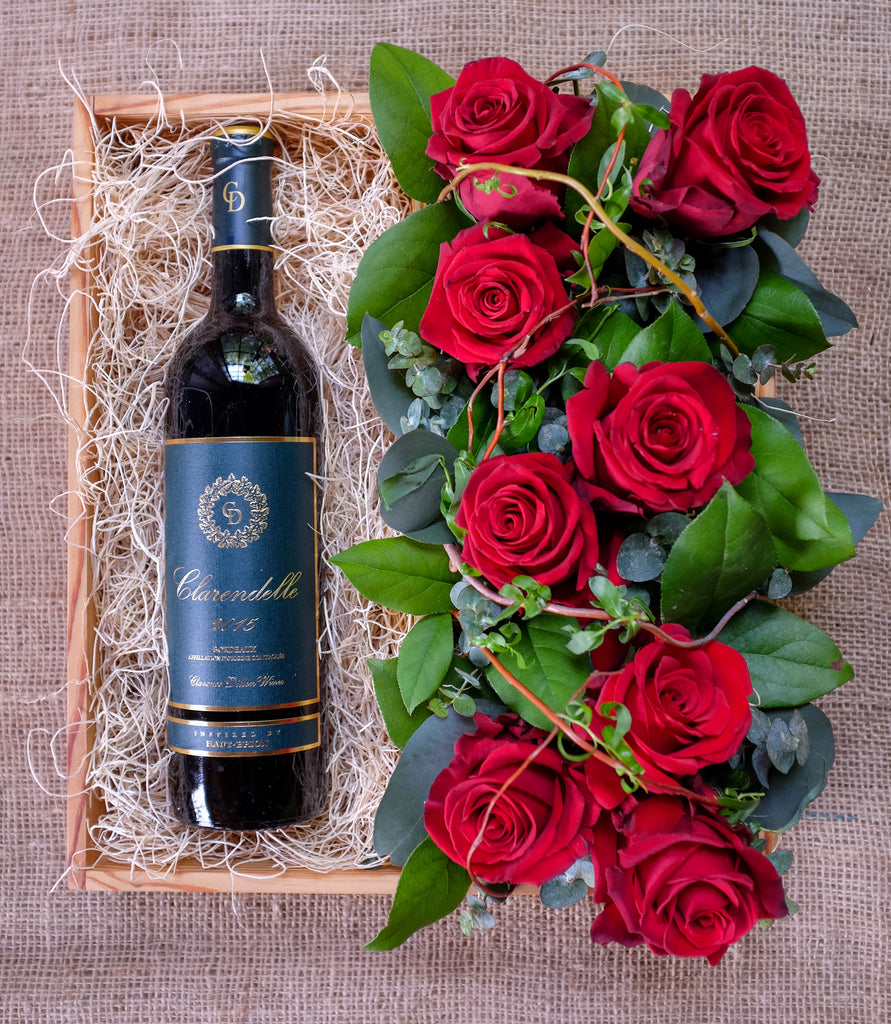 Red Wine Gift Crate with Red Roses by Michler's Florist