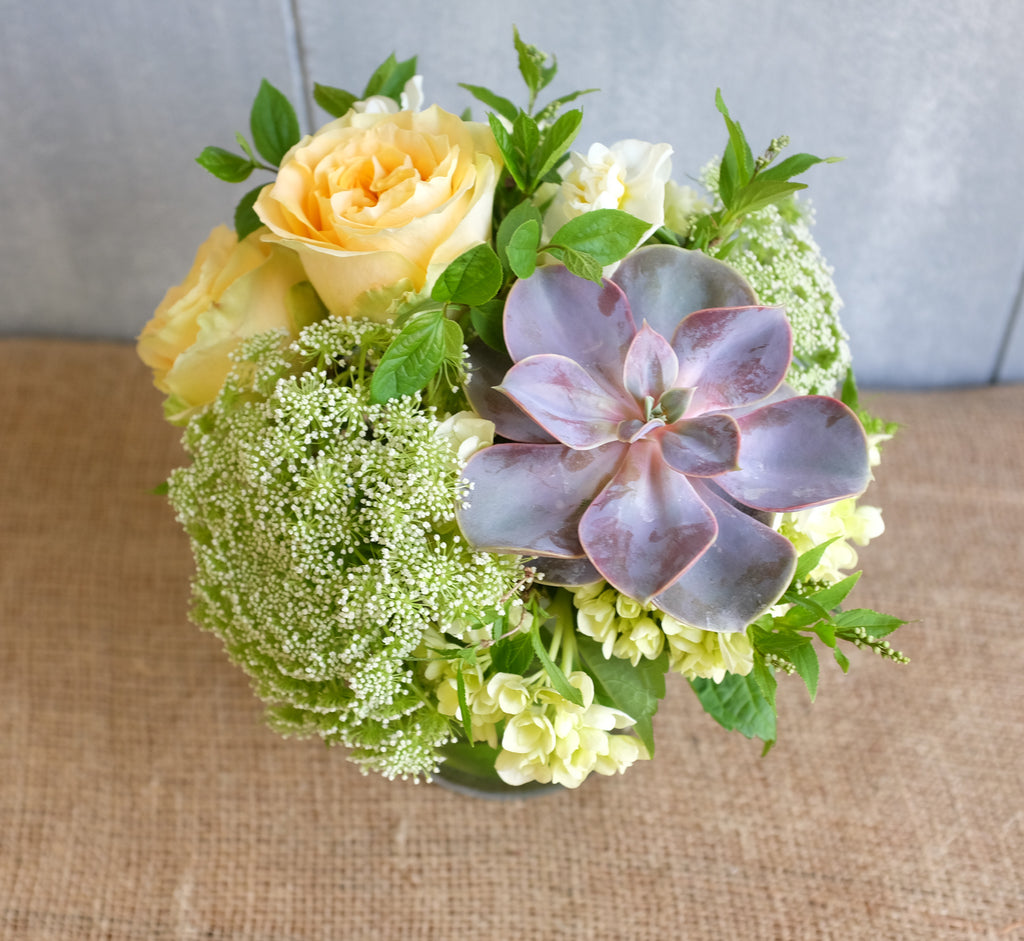 Flower bouquet with succulent