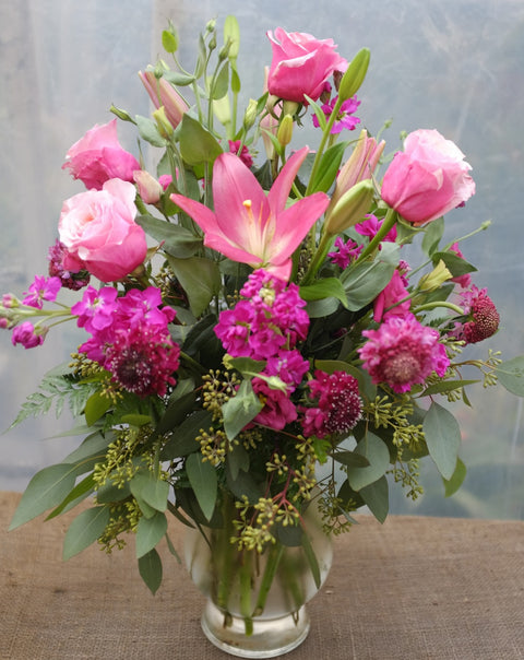 Adelaide Flower Arrangement with Roses, Lilies, and Matthiola