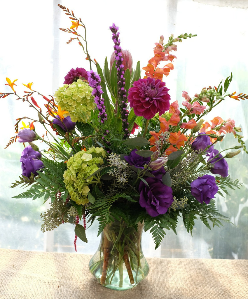 Sheffield Flower Vase designed with Crocosmia, Dahlias, Hydrangea & Lisianthus by Michler's Florist in Lexington, KY