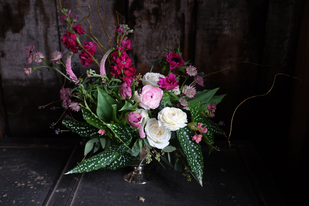 Flower Design with Veronica, Ranunculus, Begonias, Astrantia by Michler's Florist