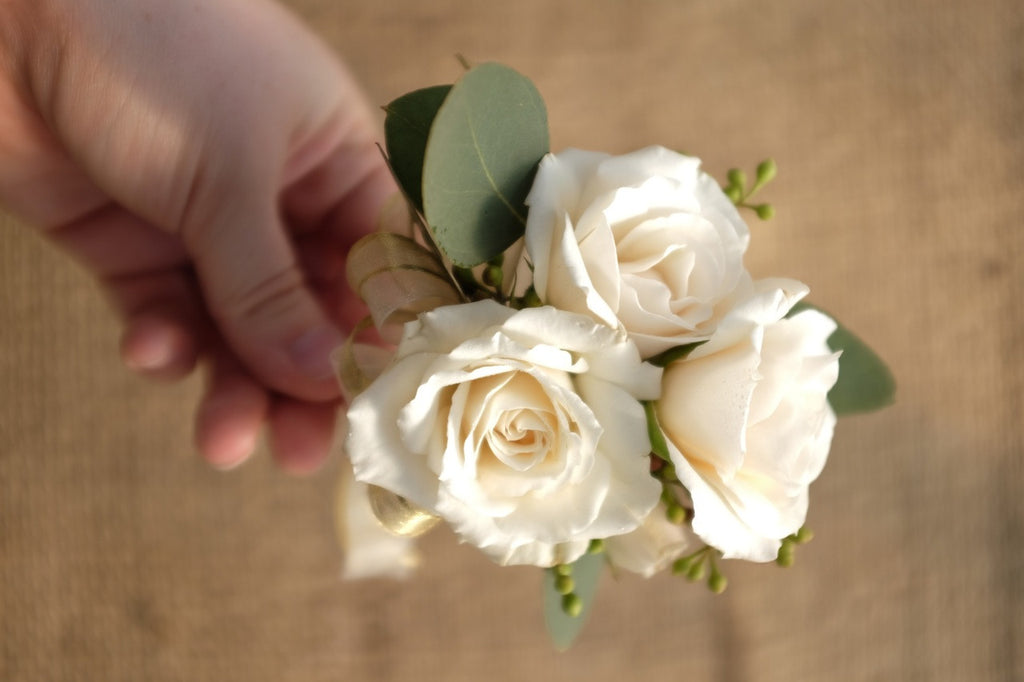 White Sweetheart Rose Corsage