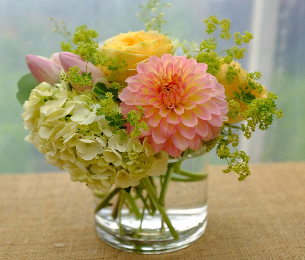 Summer Hill: Bright summer flowers including a Pink Dahlia and Yellow Roses | Michler's Florist
