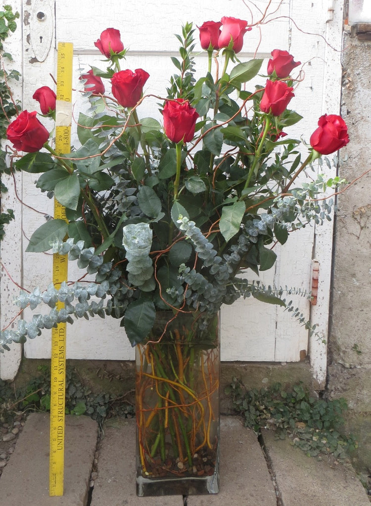 The Big Dozen - Yard Tall Red Rose Arrangement | Michler's Florist