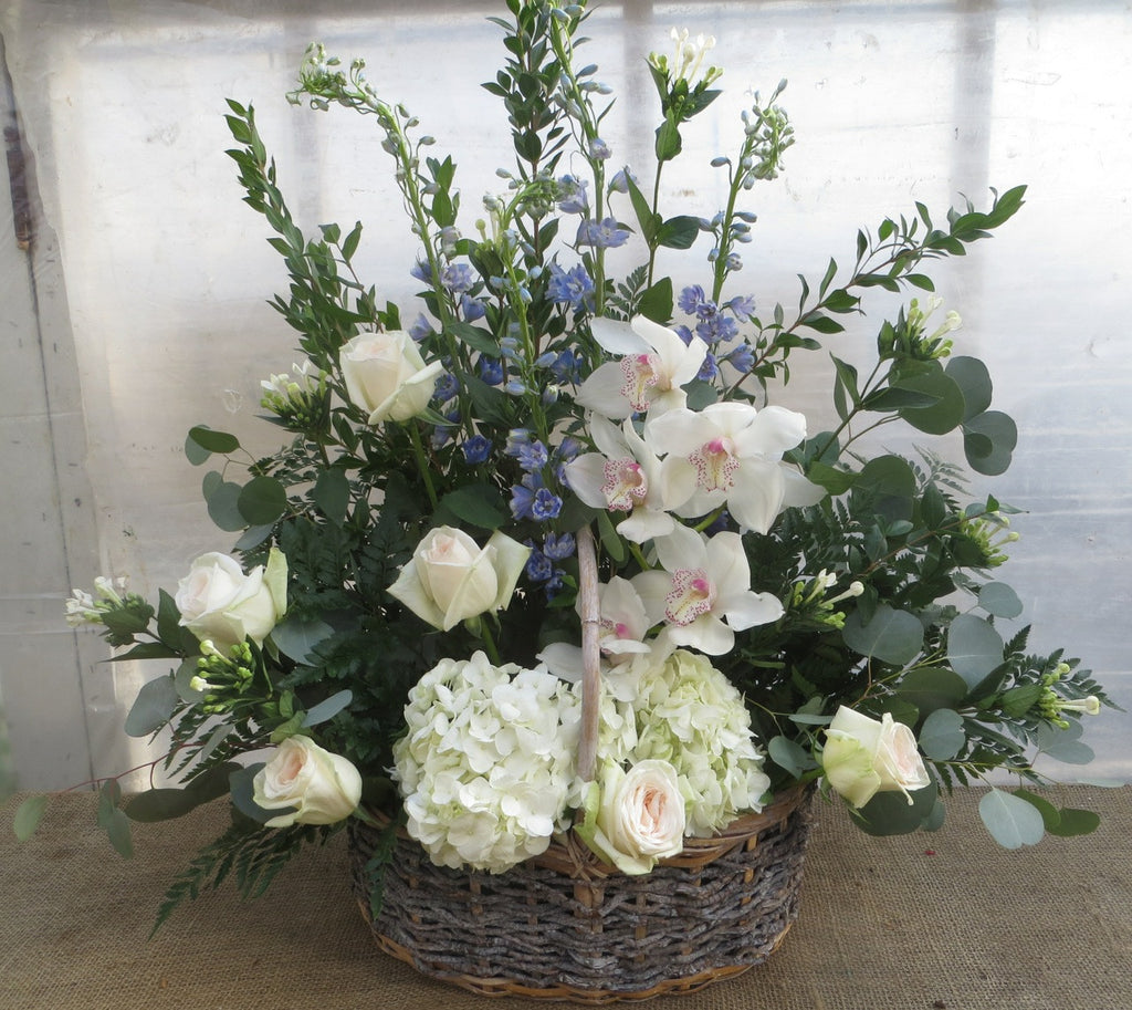Toronto Funeral Basket: Hydrangea, Roses and Cymbidium Orchids. Designed by Michler's Florist in Lexington, KY