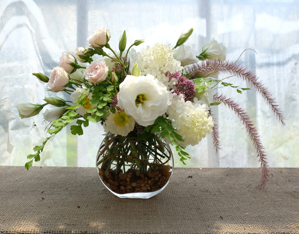 Truro Flower Arrangement with Lisianthus, Roses and Grasses. Michler's Florist in Lexington, KY