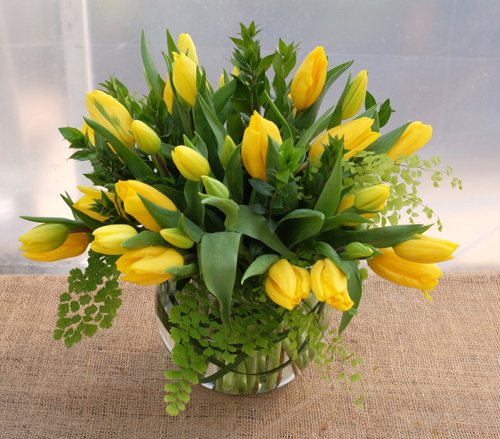 Tulip Bowl: Glass bubble bowl brimming with yellow tulips.  Designed by Michler's Florist in Lexington, KY