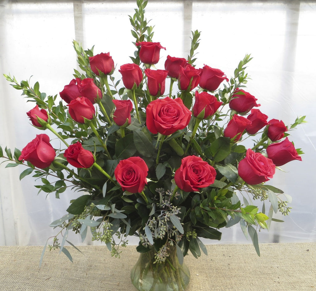 Two dozen long-stem red roses designed by Michler's Florist in Lexington, KY