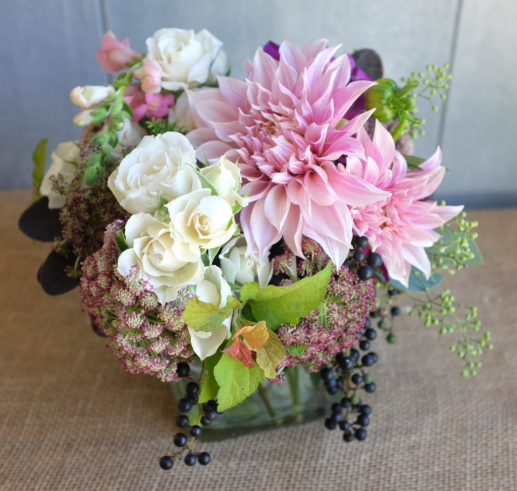 Lush garden bouquet with cafe au lait dahlias and white roses