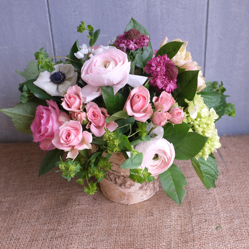 Flower Design with: Clooney Ranunculus, Roses, Scabiosa, Anemones by Michler's Florist